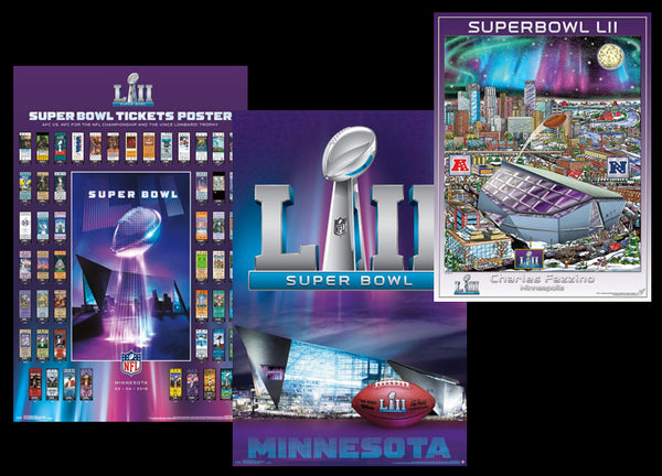 Super Bowl XLII (Minnesota 2018) Official 3-Poster COMBO SET - Super Tickets, Theme Art, Pop Art