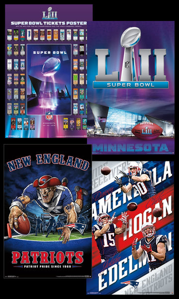 COMBO: New England Patriots Super Bowl LII (2018) 4-Poster PARTY PACK