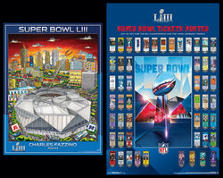 Super Bowl LIII (Atlanta 2019) Official 2-Poster Set - Super Tickets History Poster, Pop Art Event Poster