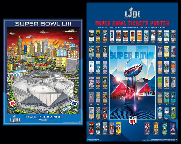 *SHIPS 1/14* Super Bowl LIII (Atlanta 2019) Official 2-Poster Set - Super Tickets History Poster, Pop Art Event Poster