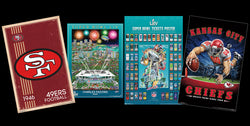 COMBO: Super Bowl LIV (2020) 4-Poster PARTY PACK (49ers, Chiefs, Theme Art, Super Tickets)