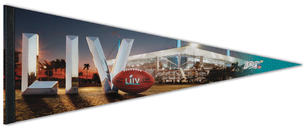*SHIPS FEB 3* Super Bowl LIV (Miami, FL 2-2-2020) Official Premium Felt Event Pennant - Wincraft