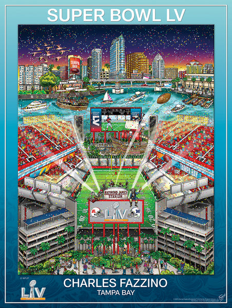*SHIPS 1/25* Super Bowl LV (Tampa 2021) Official NFL Football Commemorative Pop Art Poster - Fazzino