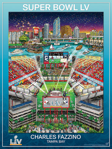 Super Bowl LV (Tampa 2021) Official NFL Football Commemorative Pop Art Poster - Fazzino