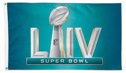 *SHIPS FEB 3* Super Bowl LIV (Miami 2/2/2020) Official Game Logo Deluxe-Edition 3'x5' Flag - Wincraft Inc.