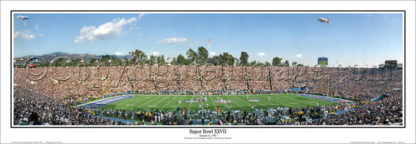 Super Bowl XXVII (Rose Bowl 1993) Dallas Cowboys vs. Buffalo Bills Panoramic Poster Print - Everlasting Images