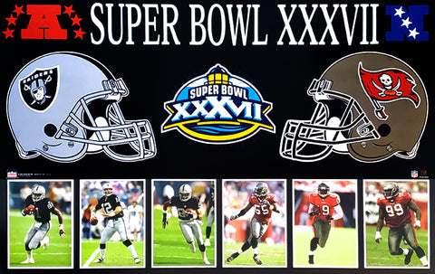 "Super Bowl XXXVII Tampa Bay Bucs vs Oakland Raiders ""Dueling Helmets"" Poster - Starline"
