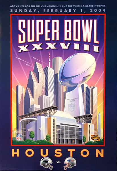 Super Bowl XXXVIII (Houston 2004) Panthers vs. Patriots Official Theme Art Event Poster - Action Images