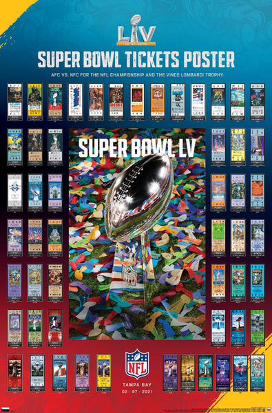 *SHIPS 1/20* Super Bowl LV (Tampa 2021) Official SUPER TICKETS Game History Poster - Trends International