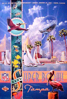 Super Bowl XXXV Official Event Poster (2001) Vintage Original - Action Images