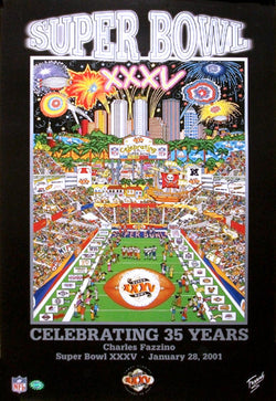 Super Bowl XXXV (Tampa 2001) Official Commemorative Pop Art Poster - Charles Fazzino