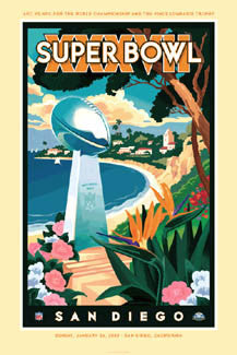 Super Bowl XXXVII Official Poster (San Diego 2003) - Action Images Inc.
