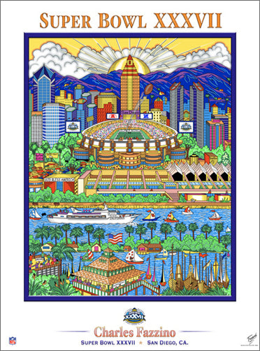 Super Bowl XXXVII (San Diego 2003) Official Commemorative Pop Art Poster - Charles Fazzino