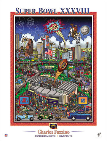 Super Bowl XXXVIII (Houston 2004) Official Commemorative Pop Art Poster - Charles Fazzino