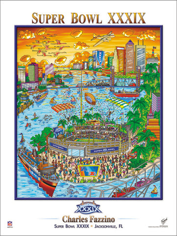 Super Bowl XXXIX (Jacksonville 2005) Official Commemorative Pop Art Poster - Charles Fazzino