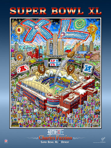 Super Bowl XL (Detroit 2006) Official Commemorative Pop Art Poster - Charles Fazzino