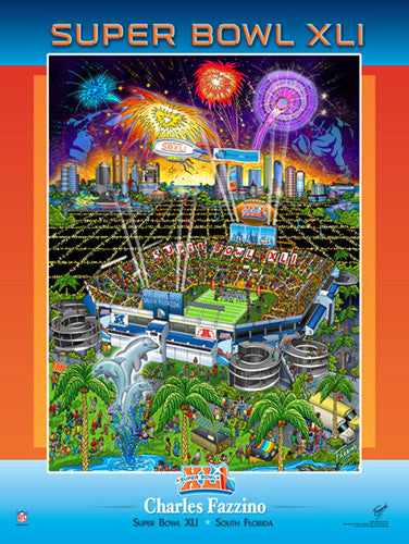 Super Bowl XLI (Miami 2007) Official Commemorative Pop Art Poster - Charles Fazzino