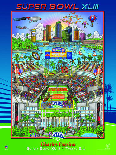Super Bowl XLIII (Tampa 2009) Official Commemorative Pop Art Poster - Charles Fazzino