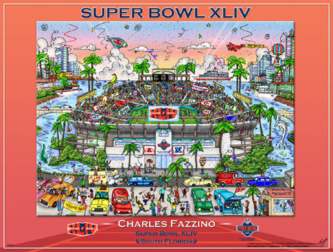 Super Bowl XLIV (Miami 2010) Official Commemorative Pop Art Poster - Charles Fazzino