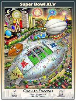 Super Bowl XLV (Dallas 2011) Official Commemorative Pop Art Poster - Charles Fazzino