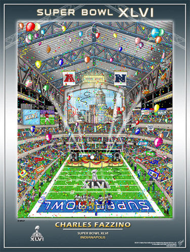 Super Bowl XLVI (Indianapolis 2012) Official Commemorative Pop Art Poster - Charles Fazzino