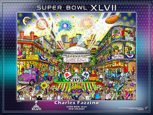 Super Bowl XLVII (New Orleans 2013) Official Commemorative Pop Art Poster - Charles Fazzino