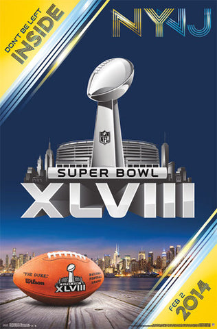 Super Bowl XLVIII (New York/New Jersey 2014) Official NFL Event Theme Art Poster