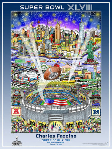 Super Bowl XLVIII (NY/NJ 2014) Official Commemorative Pop Art Poster - Charles Fazzino