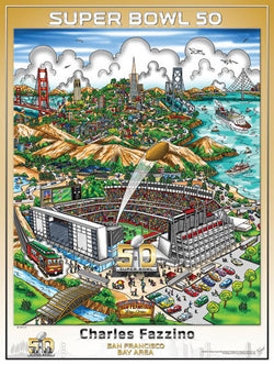 Super Bowl 50 (San Francisco Bay Area 2016) Official Commemorative Pop Art Poster - Fazzino