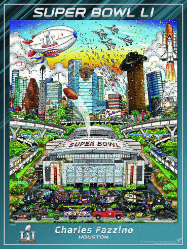 Super Bowl LI (Houston 2017) Official Commemorative Pop Art Poster - Fazzino