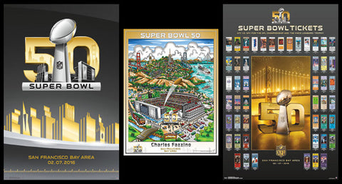 COMBO: Super Bowl 50 (San Francisco 2016) Official Posters 3-Poster Set