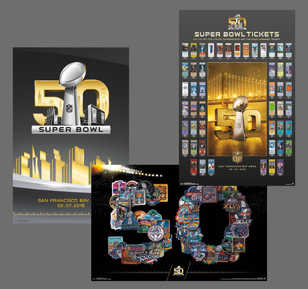 SUPER BOWL 50 (2016) Official NFL Football 3-Poster Set - Trends International