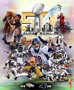 "Super Bowl 50 ""Denver Domination"" Broncos Premium Art Collage Poster - Wishum Gregory"