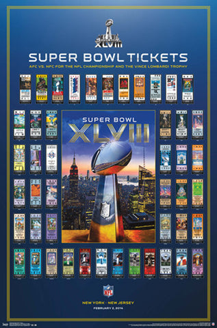 Super Tickets XLVIII (NY/NJ 2014) Official NFL Super Bowl History Poster - Trends