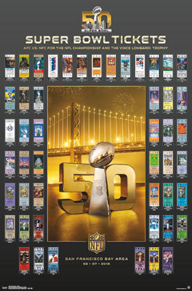 Super Bowl 50 (2016) Official SUPER TICKETS Game History Poster - Trends Int'l.