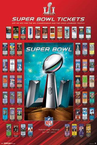 Super Bowl LI (Houston 2017) Official SUPER TICKETS Game History Poster - Trends Int'l