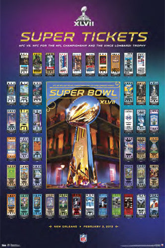 Super Tickets XLVII (2013) Super Bowl History Poster