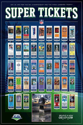 Super Tickets XLIII (42 Years of Super Bowl History) - Action Images
