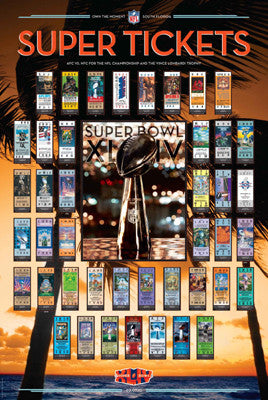 Super Tickets XLIV (43 Years of Super Bowl History) - Action Images 2010