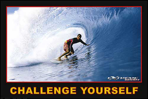 "Surfing ""Challenge Yourself"" Motivational Action Poster - Eurographics"