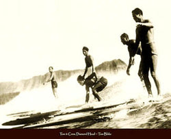 "Vintage Surfers ""Tom & Crew, Diamond Head"" (Oahu 1930) Poster Print"