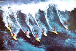 "Seven Surfers ""Surf Crew"" Surfing Action Poster - Nuova"