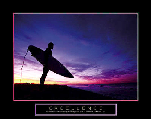 "Surfing ""Excellence"" Motivational Poster - Front Line"