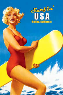 "Classic 1960s Surfing Babe ""Surfin' USA"" Malibu California Poster - Portal Publications 2004"
