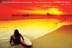 "Surfer on Beach ""Consider the Wonders"" Job 37:14 Biblical Inspirational Poster - Eurographics"
