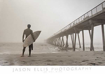 "Surfing ""In the Mist"" Poster by Jason Ellis - Image Source International"