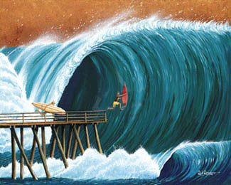 "Surfing ""Pier Pressure"" (Rick Romano) - Surfing Artists Int'l"