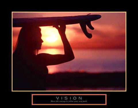 "Women's Surfing ""Vision"" Motivational Poster - Front Line"