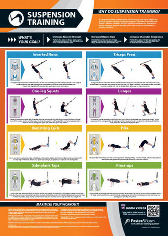Suspension Training Workout Professional Fitness Training Wall Chart Poster (w/QR Code) - PosterFit
