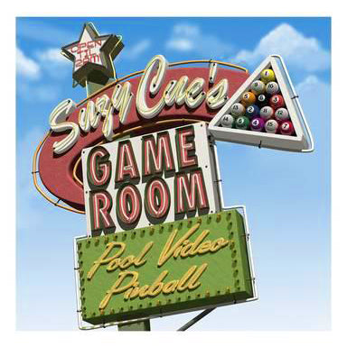 "Billiards Pool Hall ""Suzy Cue's Game Room"" Vintage Neon Sign Art Poster by Anthony Ross - McGaw Graphics"